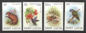 St. Lucia Sc# 538-541 MH 1981 Agouti