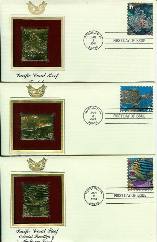 Pacific Coral Reef SET OF 10 22k GOLD FDCs Hawaii Fish Eels Shells + Text Cards!