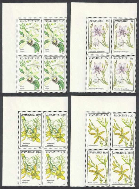 Zimbabwe Orchids 4v Top Left Corner Blocks of 4 SG#860-863