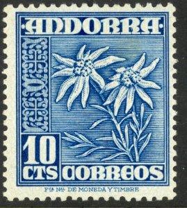 ANDORRA SPANISH ADMIN 1948-53 10c EDELWEISS Flower Issue Sc 39 MH