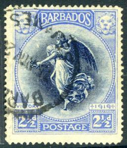 BARBADOS-1920-1 Victory 2½d Indigo & Ultramarine Sg 205 FINE USED V19458