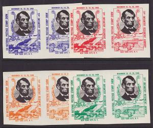 US MNH. 1960 ASDA Labels, Abe Lincoln, imperforate horizontal pairs,complete set