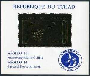 Chad 239Ab sheet,gold imperf,MNH.Michel 387B. Space 1971.Apollo 11,Apollo-14.