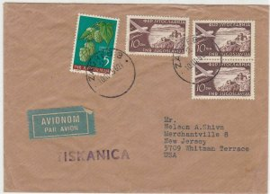 Yugoslavia 1956 Zagreb3 Cancel to U.S.A plane Airmail Stamps Cover ref R 17258