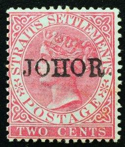 Malaya 1888 Johor opt Straits Settlements QV 2c MLH with Stop SG#14 M2310