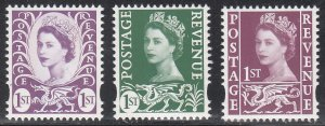 Great Britain, Wales 2600a Type A1, 2600c Type A3, 2600f Type A2 MNH