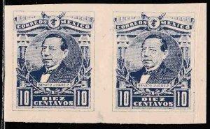MEXICO 505Var, 10¢ BENITO JUAREZ.IMPERF PAIR MINT, NEVER HINGED. (631)