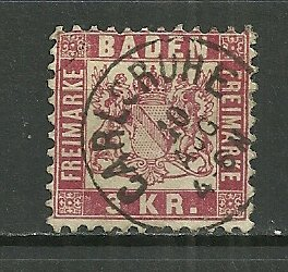 1868 Baden 27  3Kr Coat of Arms used