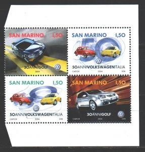 San Marino. 2004. sq. 2154-57. Cars. MNH.