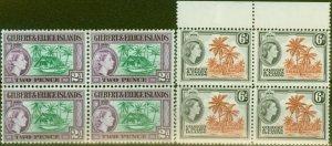 Gilbert & Ellice Is 1964 Wmk Change set of 2 SG85-86 Superb MNH Blocks of 4