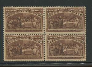 1893 US Stamp #234 5c Mint Never Hinged Fine Block of 4 Catalogue Value $150