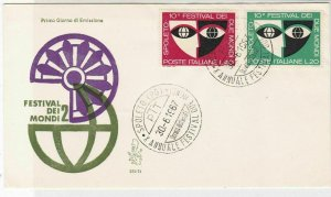 Italy 1967 Festival of the Worlds 2 FDC Two Cancels & Stamps Cover ref 22450