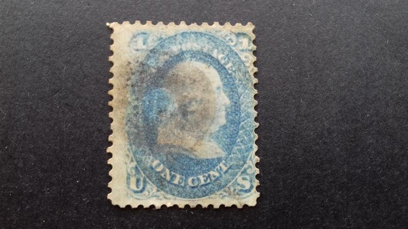 United States Scott#63 (2) 1c Franklin Used 1 Toned