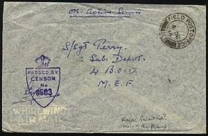 PALESTINE 1944 Br Forces censor cover FPO 121.............................98240W