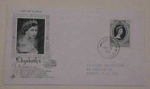 VIRGIN ISLAND QUEEN ELIZABETH II CORONATION FDC  2 JUNE 1953  CACHETED