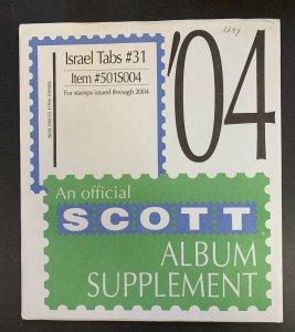 Israel Tabs 2004, Scott Specialty Album Supplement #31, Scott Item #501S004