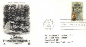 US FDC #2096 Smokey Bear, PCS (21789)