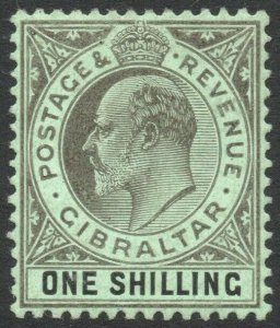 GIBRALTAR-1910 1/- Black/Green Sg 71 LIGHTLY MOUNTED MINT V41289