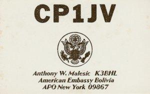 8506 Amateur Radio QSL Card  AMERICAN EMBASSY BOLIVIA APO NEW YORK