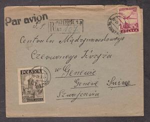 Poland - 1947 Registered POW Red Cross cover mailed to Geneva, Switzerland