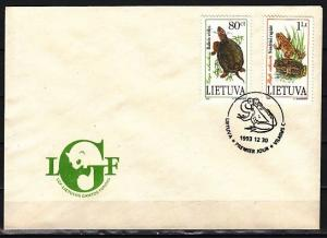 Lithuania, Scott cat. 473-474, Turtle & Frog issue. First day cover.