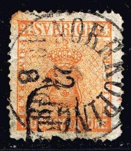 SWEDEN STAMP 1858 -1870 Coat of Arms - Value in ÖRE 24ÖRE ORANGE USED