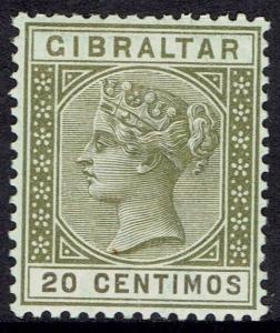 GIBRALTAR 1889 QV 20C OLIVE GREEN AND BROWN