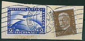 GERMANY - ZEPPELIN - Michel 423 -  2  Marks on cover CUT OUT