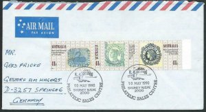 AUSTRALIA 1990 cover to Germany - nice franking - Sydney pictorial pmk.....12800