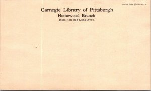 Unused Lincoln 1¢ stationery pcard Carnegie Library Pittsburgh Homewood branch