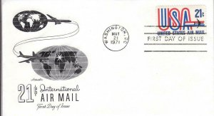 1971, 21c International Airmail, Artmaster, FDC (D14000)