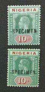 MOMEN: NIGERIA SG #11s,11as MULT CROWN CA SPECIMEN MINT OG H LOT #191692-539