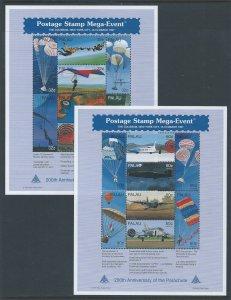 Palau #422-3 NH Postage Stamp Mega Event, N.Y. - Parachute Bi-Cent. (2 Sheetlets