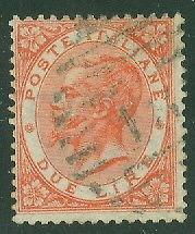 ITALY #33 2Lira vermillion, used, VF, Scott $90.00