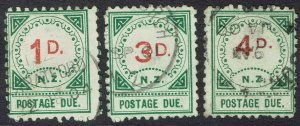 NEW ZEALAND 1899 POSTAGE DUE 1D 3D AND 4D USED