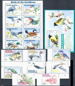 Grenada Grenadines  1995 birds set +klb+2s/s MNH
