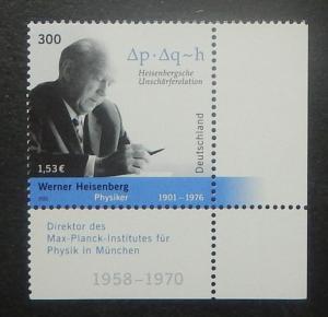 Germany 2142. 2001 Werner Heisenberg, physicist, NH