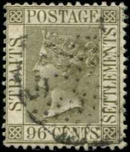 Straits Settlements SC# 57 Victoria 96c  wmk 2 Used