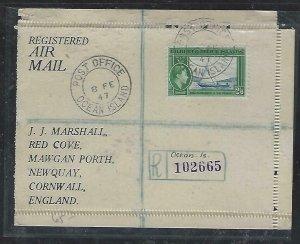 GILBERT & ELLICE ISLANDS (P2808BB)  KGVI 1947 2/6 REG COVER FROM OCEAN IS TO UK
