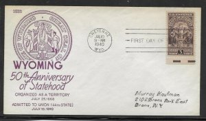 US #897 20 Wyoming Statehood Anderson cachet addressed fdc