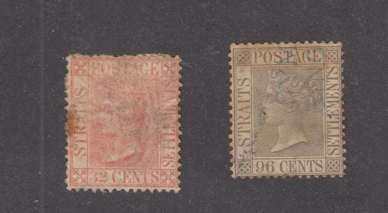 STRAITS SETTLEMENTS # 17-18 QUEEN VICTORIAN ISSUES CAT VALUE $125