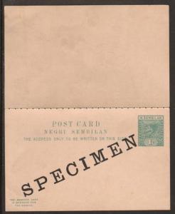 Negri Sembilan H&G 2, 1897 1c + 1c SPECIMEN Double Card