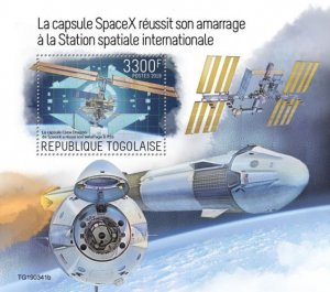TOGO - 2019 - SpaceX at International Space Station - Perf Souv Sheet - MNH