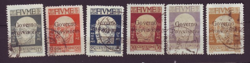 J22620 Jlstamps 1921 fiume used ovpt stamps #136-9,141-2, cond. varies