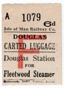 (I.B) Isle of Man Railway : Carted Luggage 6d (Fleetwood Steamer)