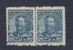 2x Newfoundland Revenue Stamps Pair of NFR18-25c