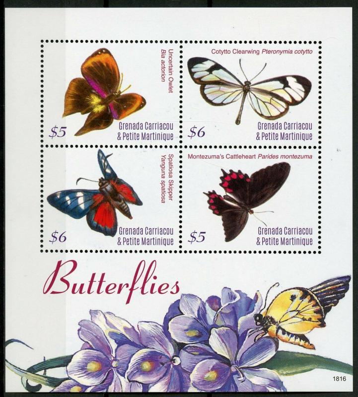Grenadines of Grenada 2018 MNH Butterflies Owlet Skipper 4v M/S Butterfly Stamps