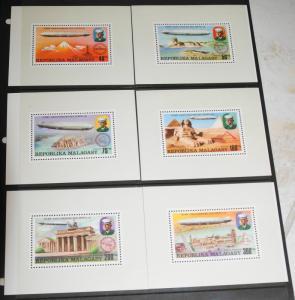 1976 MNH Malagasy Republic Zeppelins, Sc# 545-8, C158-9 Presentation Sheets