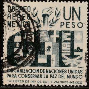 MEXICO C159, $1P Honoring the United Nations. USED. VF. (604)