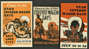 UTAH COVERED WAGON DAYS ( USA Poster Stamp ) X3